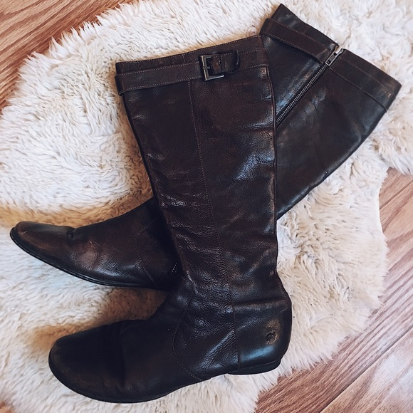 8f2ae5402 Born Shoes | Tall Brown Leather Flat Boots Size 1143 | Poshmark